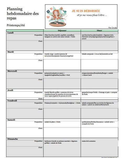 17 meilleures id 233 es 224 propos de planification hebdomadaire des menus sur