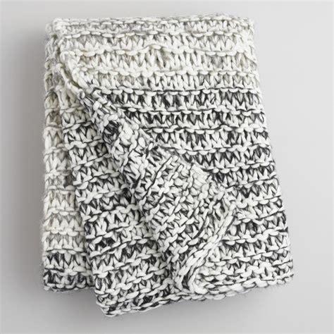 grey knit throw gray and ivory chunky knit throw world market