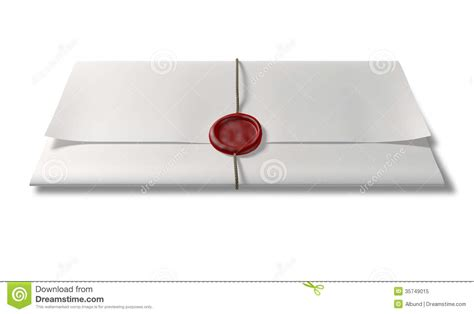 sealing paper paper with wax seal and string front royalty free