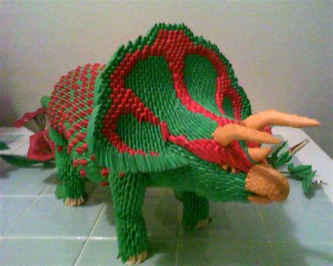 how to do 3d origami 3d origami triceratops by dfoosdc on deviantart