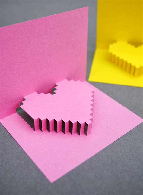 popup card popular diy crafts how to make a pixel pop up card