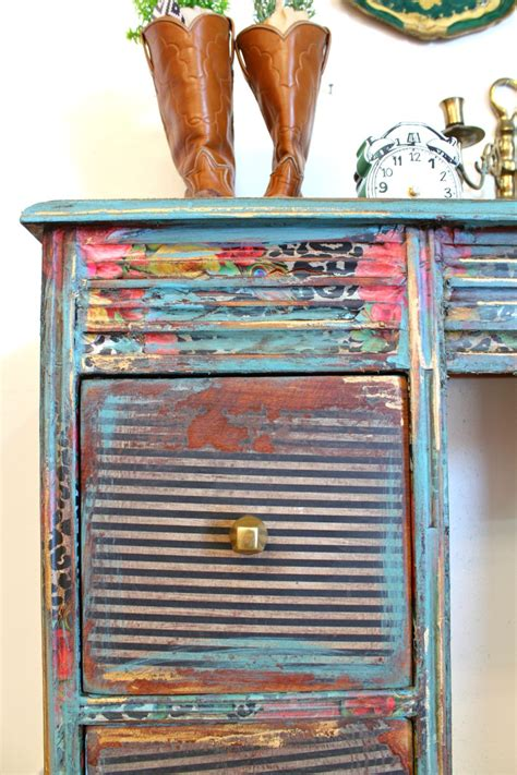how to decoupage with tissue paper how to decoupage a desk refunk my junk