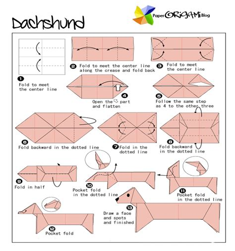 how to make origami dogs animals origami dachshund paper origami guide