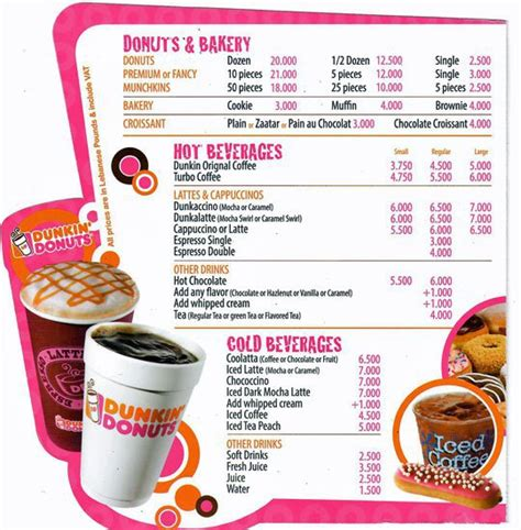 menu dunkin donuts dunkin donut menu www pixshark images galleries