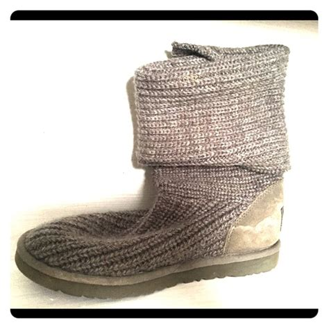grey knitted boots 54 ugg shoes grey knitted three button ugg boots