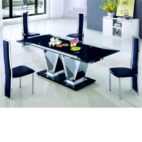 nico rectangle extending glass dining table and 8 leather