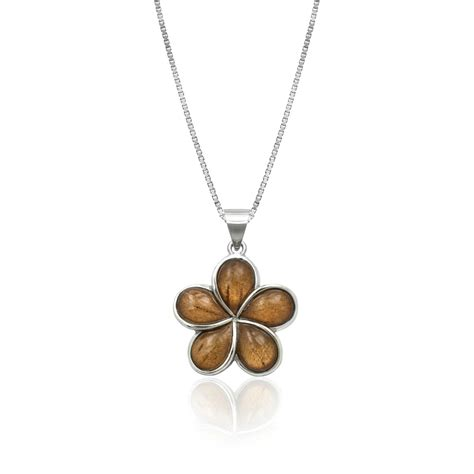 jewelry companies koa wood plumeria flower sterling silver pendant