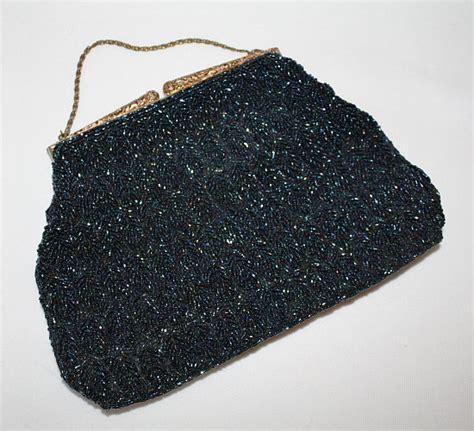 beaded evening bag 1950 s navy beaded evening bag