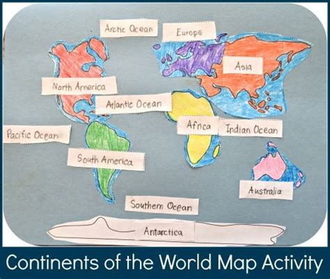 geography crafts for continents of the world map activity for for