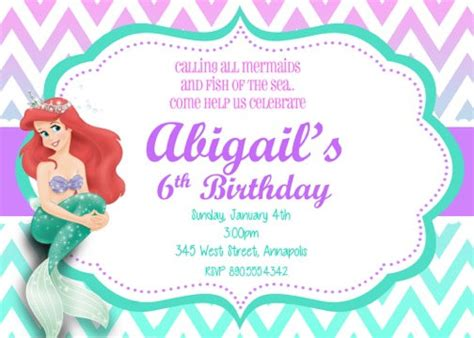 little mermaid ariel birthday party invitation digital file