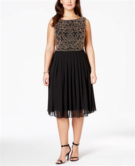 plus size beaded dresses xscape plus size beaded a line dress in black lyst