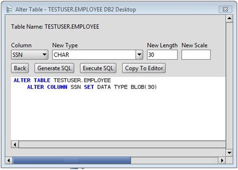 sql query to change table name db2 change column type of db2 database table columns via