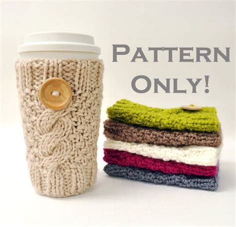 knitted mug cosy free pattern knitted cable travel mug cozy pattern