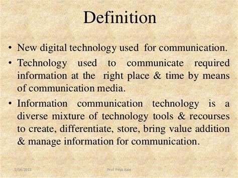 the definition of meaning of ict