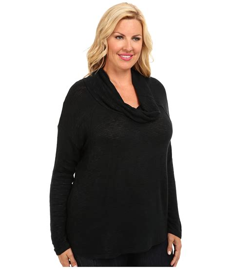 black knit poncho sweater dkny plus size sweater knit cowl poncho in black noir lyst