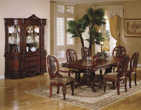 Ashley Dining Room Sets cherry finish traditional dining room w hand carved details