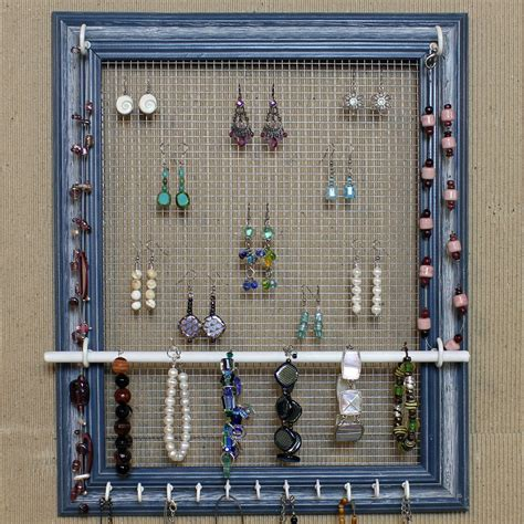 how to make your own jewelry holder jewelry organizer display blue picture frame by