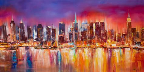 best paint nite nyc vibrant new york city skyline painting by manit