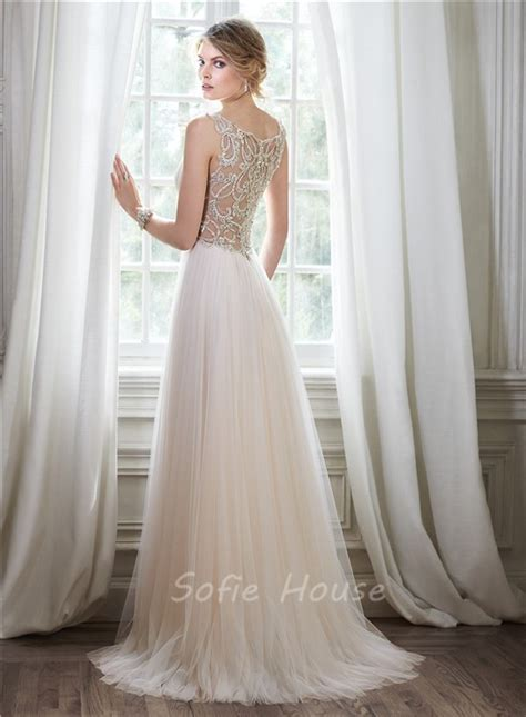 wedding dress beaded back stunning a line v neck sheer back tulle beaded
