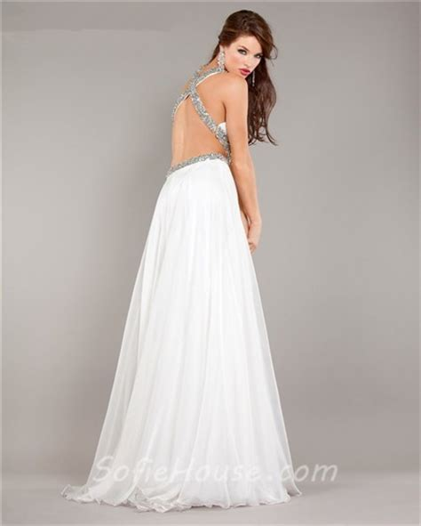 backless beaded prom dress cut out backless flowing white chiffon beaded prom