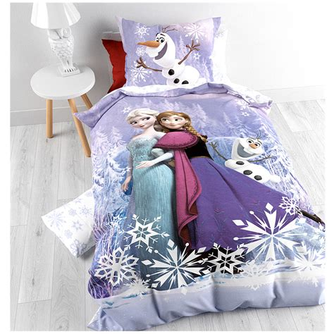 frozen reine des neiges parure de lit housse de couette 140 x 200 cm mauve frozen