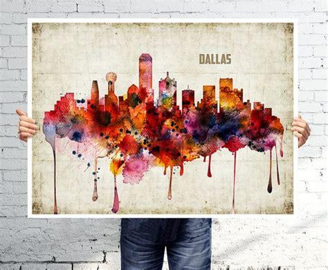 paint nite dallas dallas print poster skyline watercolor wall