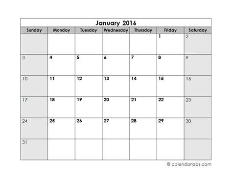 2016 blank monthly calendar free printable templates