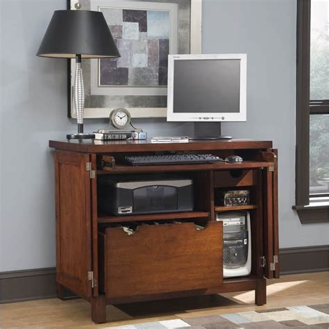 cabinet computer desk home styles furniture hanover compact wood cabinet cherry