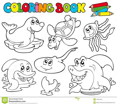 pictures of coloring books coloring book with marine animals 1 royalty free stock