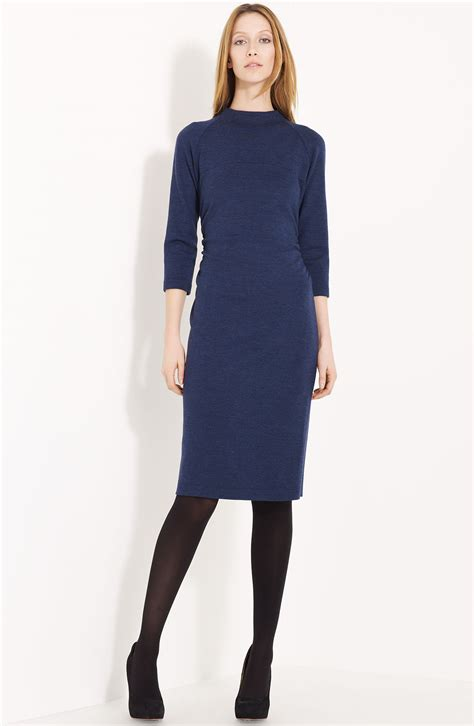 navy blue knitted dress lida baday wool knit dress in blue navy melange lyst