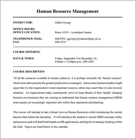 course outline template 10 free sample example format