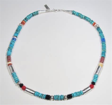 navajo beaded necklace t singer navajo sterling coral turquoise bead necklace