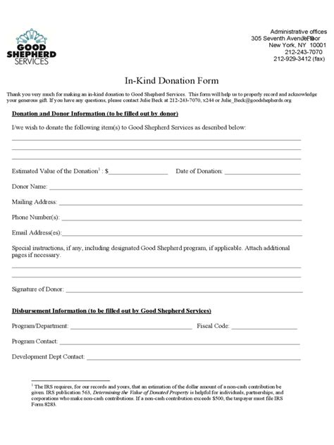 in kind donation form 2 free templates in pdf word