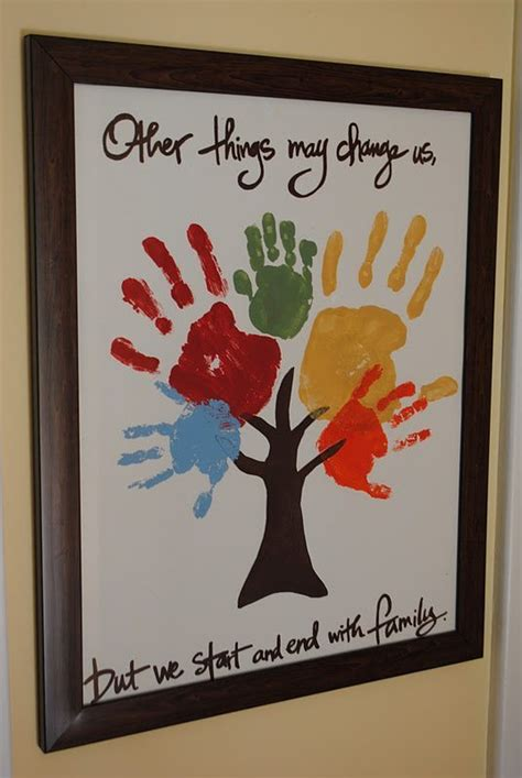 family tree craft project keepsakes made with the whole family s handprints or