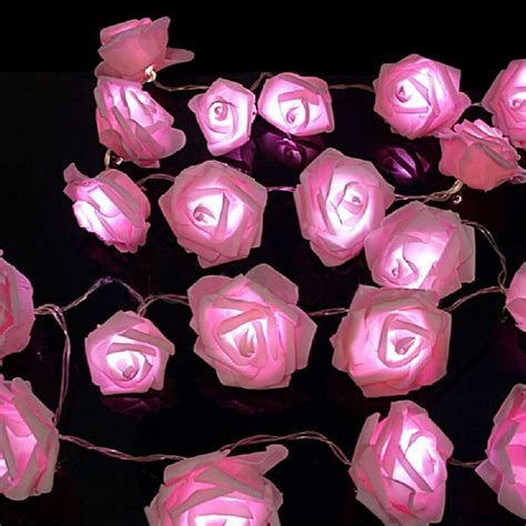 string flower lights pink white leds flower string lights living bedroom