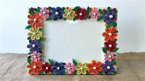 how to create a colorful floral photo frame diy crafts