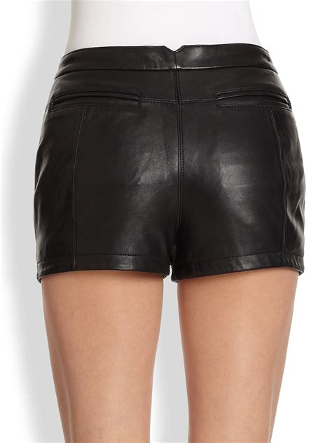 leather shorts bcbgmaxazria leather shorts in black lyst