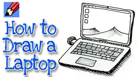 drawing on computer how to draw a laptop computer real easy