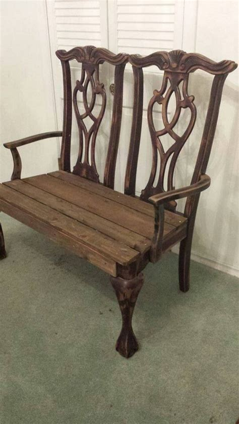 Chairs That Make Into A Single Bed by Build A Garden Bench From Two Old Dining Chairs Diy