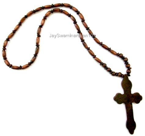 bead cross necklace wood beaded big wooden cross necklace dk brown 29 quot ebay