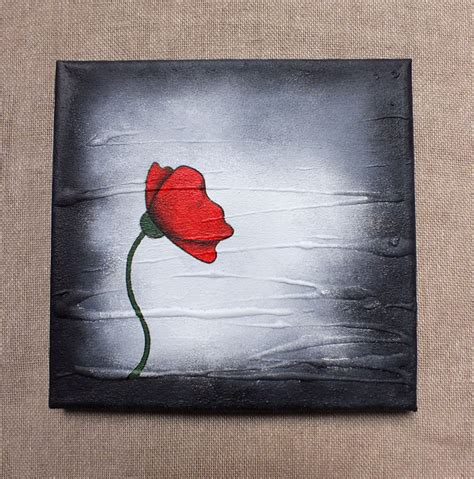 acrylic paint on canvas poppy painting original poppy on a box canvas