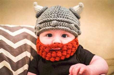 knitted baby beard viking hat and beard for baby toddler child