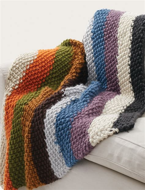 striped knitting pattern bernat seed stitch blanket cozy chunky rainbow striped