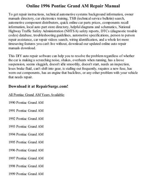 1996 pontiac grand am repair manual online