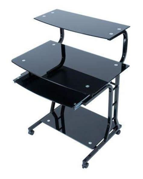 computer desk trolley levv black glass computer trolley desk computing thehut