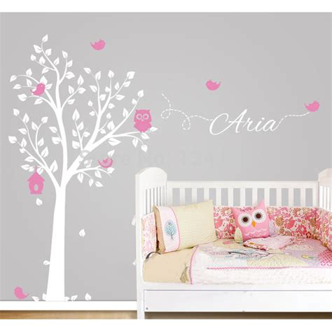 personalized wall decals for rooms custom made owl tree personalized name vinyl wall decals