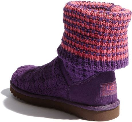 pink knitted boots ugg boots leland knit foldover boot in pink pink purple