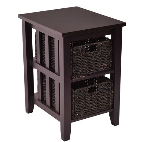 sofa side table storage wooden sofa end side table with 2 storage baskets coffee