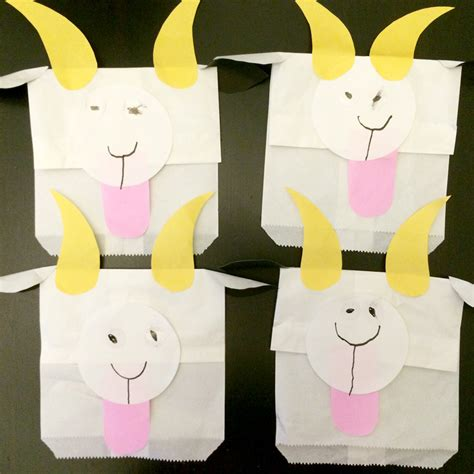 goat craft for and craft activity paper goat puppets the new age