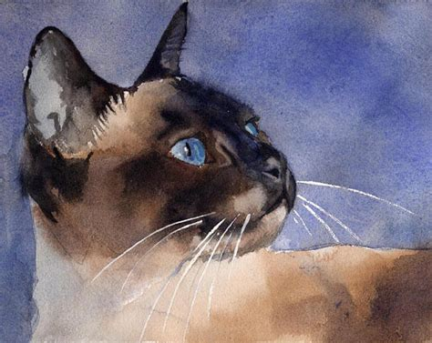 siamese cat painting chocolate applehead siamese cat print of my watercolor